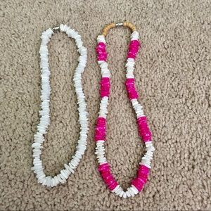 Surfer puka shell necklace set- white and pink